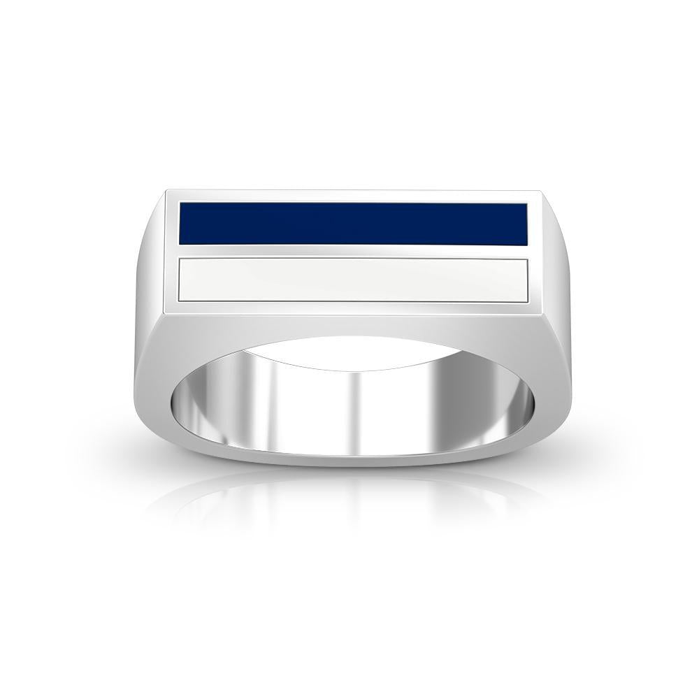 Enamel Ring in Dark Blue and White Size 10