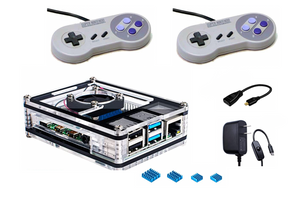 New! Raspberry Pi 4 (2GB) Retropie Console with Flirc Case, Up to 20,000 Games, MIni HDMI Adapter, Power Supply, Controllers