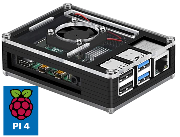 Mega Retro Console, Pi 4 (4GB) Retropie Console, Case with Fan, 24,000 Games, MIni HDMI Adapter, Power Supply, Controllers