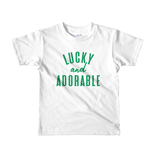 "St. Patrick's Day ""Lucky and Adorable"" Short Sleeve Kids T-Shirt"