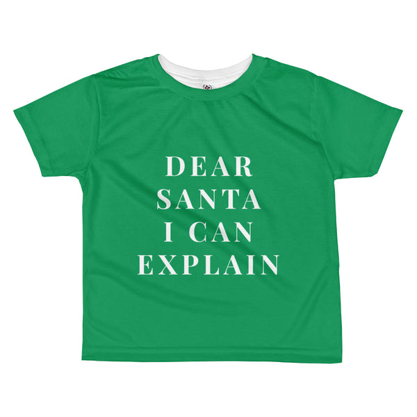 "Christmas ""Dear Santa I Can Explain"" Kid's Short Sleeve T-Shirt"