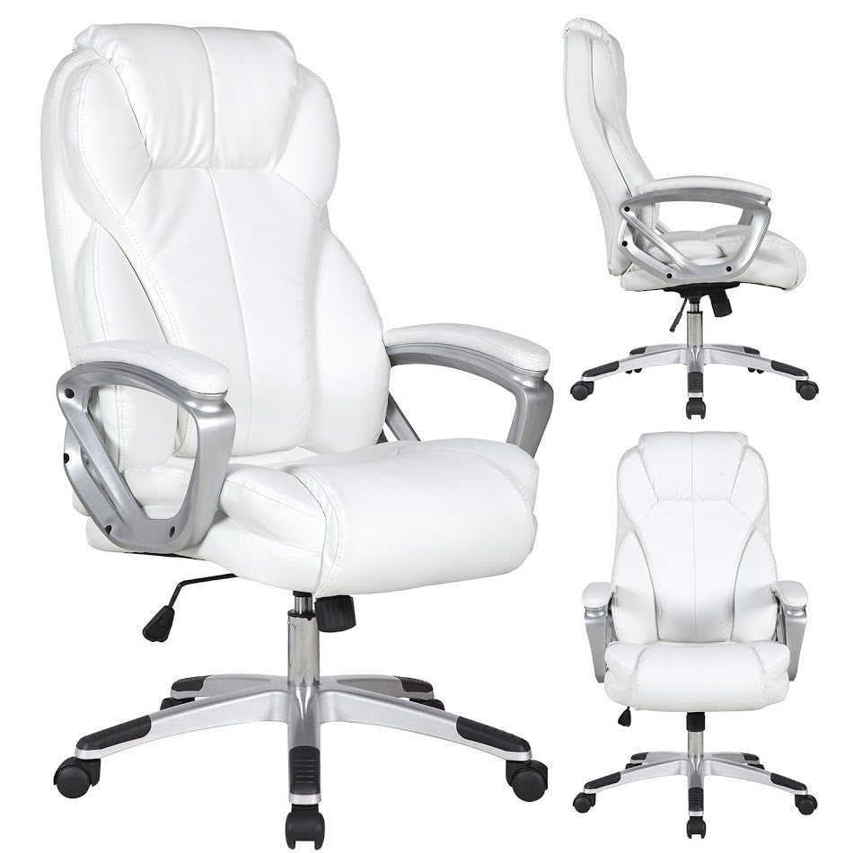 White Leather Deluxe Professional Ergonomic High Back Executive Office Handy