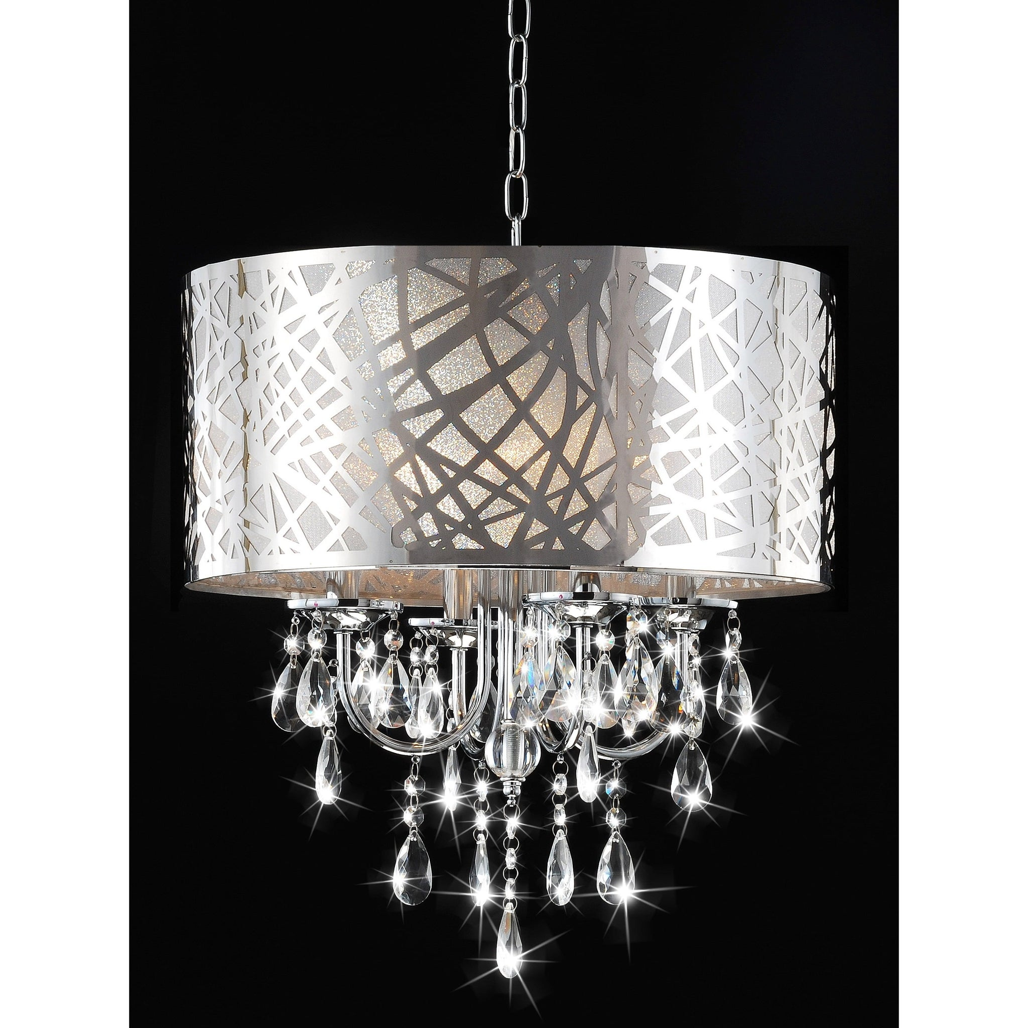 Four-Light Chrome Crystal Chandelier – Silver
