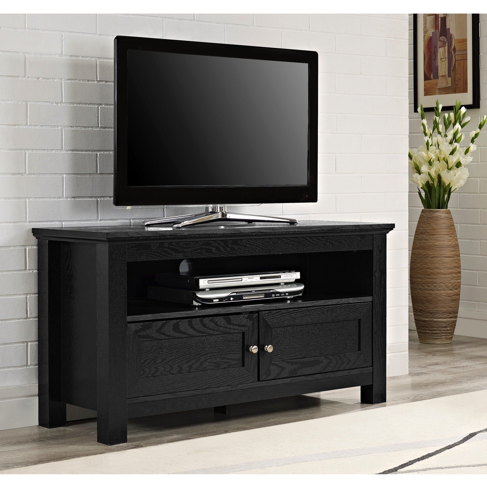 44-inch Black Wood TV Stand