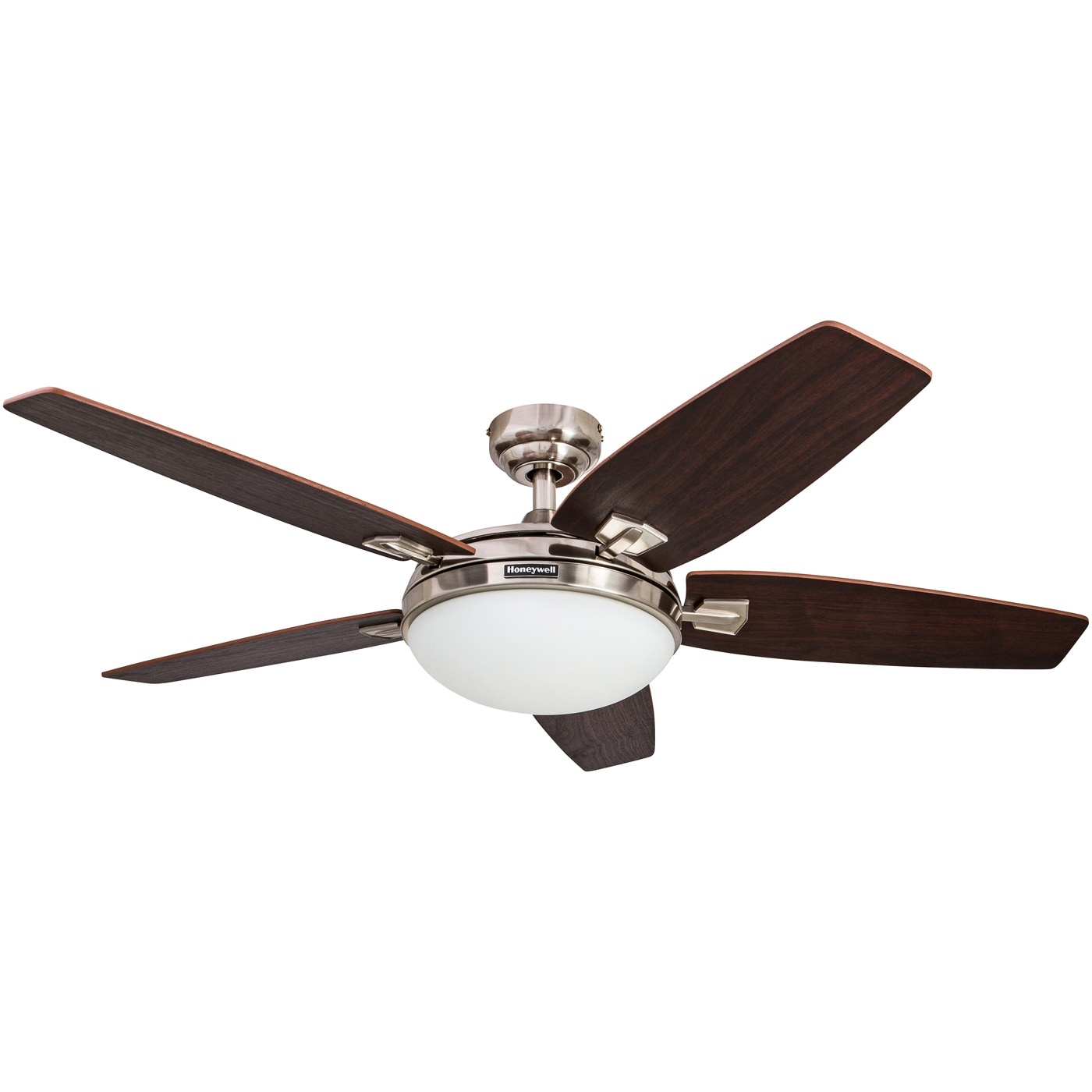 Brushed Nickel Ceiling Fan with Integrated Light and Remote