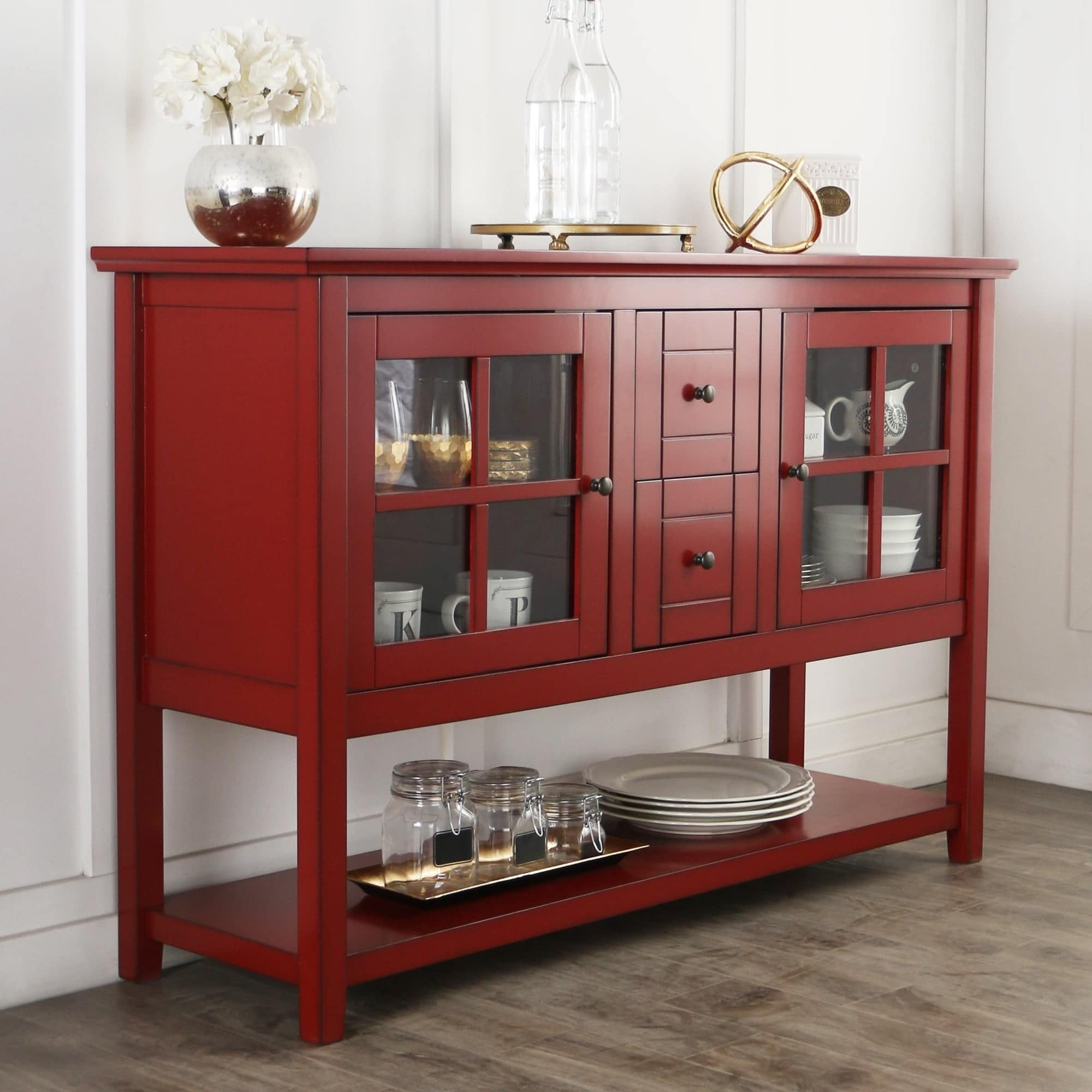 52-inch Antique Red Wood Console Table/Buffet