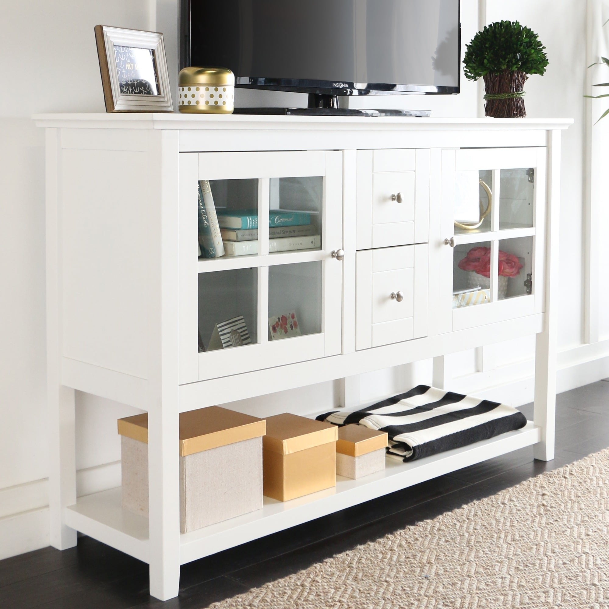 White Wood 52-inch TV Stand/Buffet