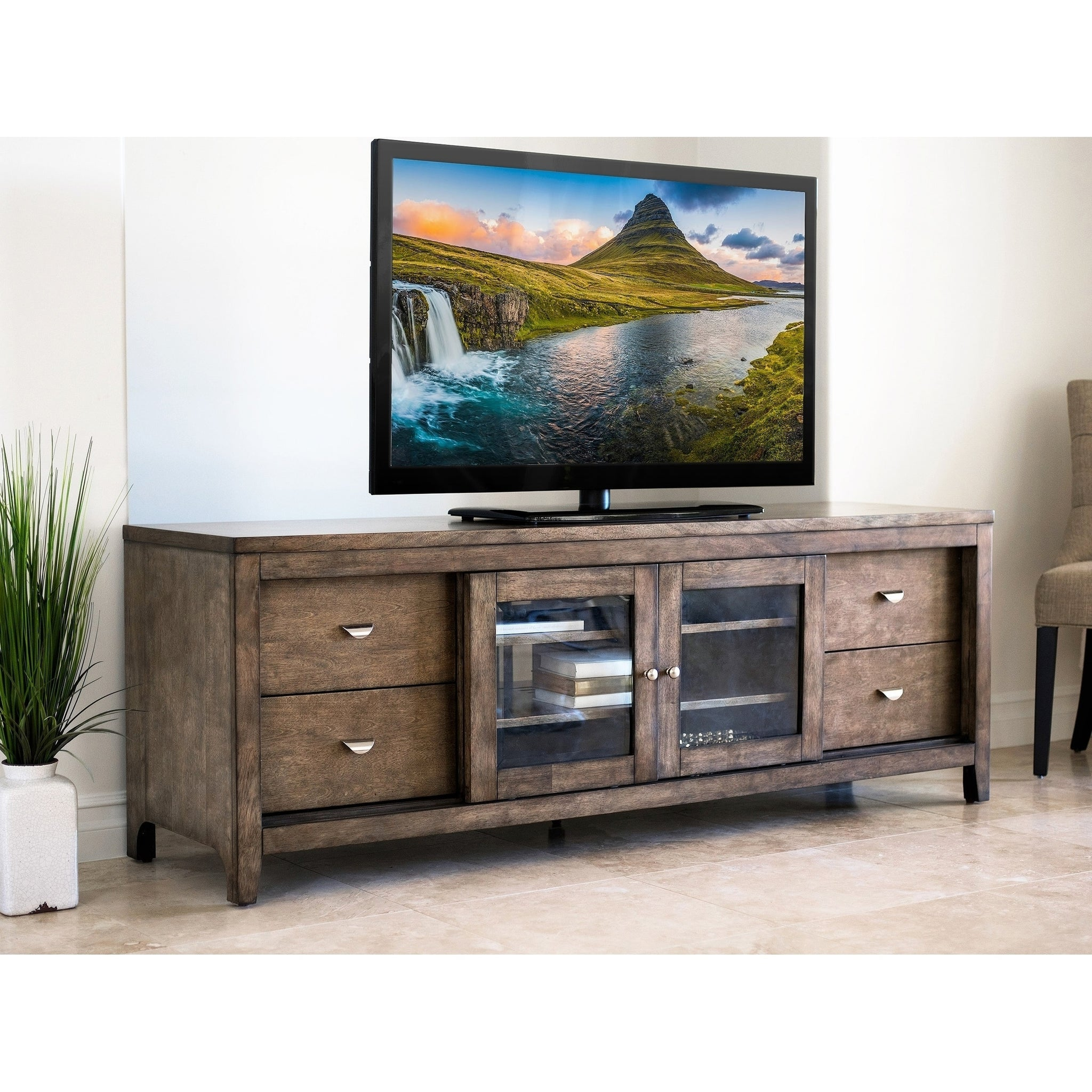 Espresso Solid Wood 72-inch TV Console