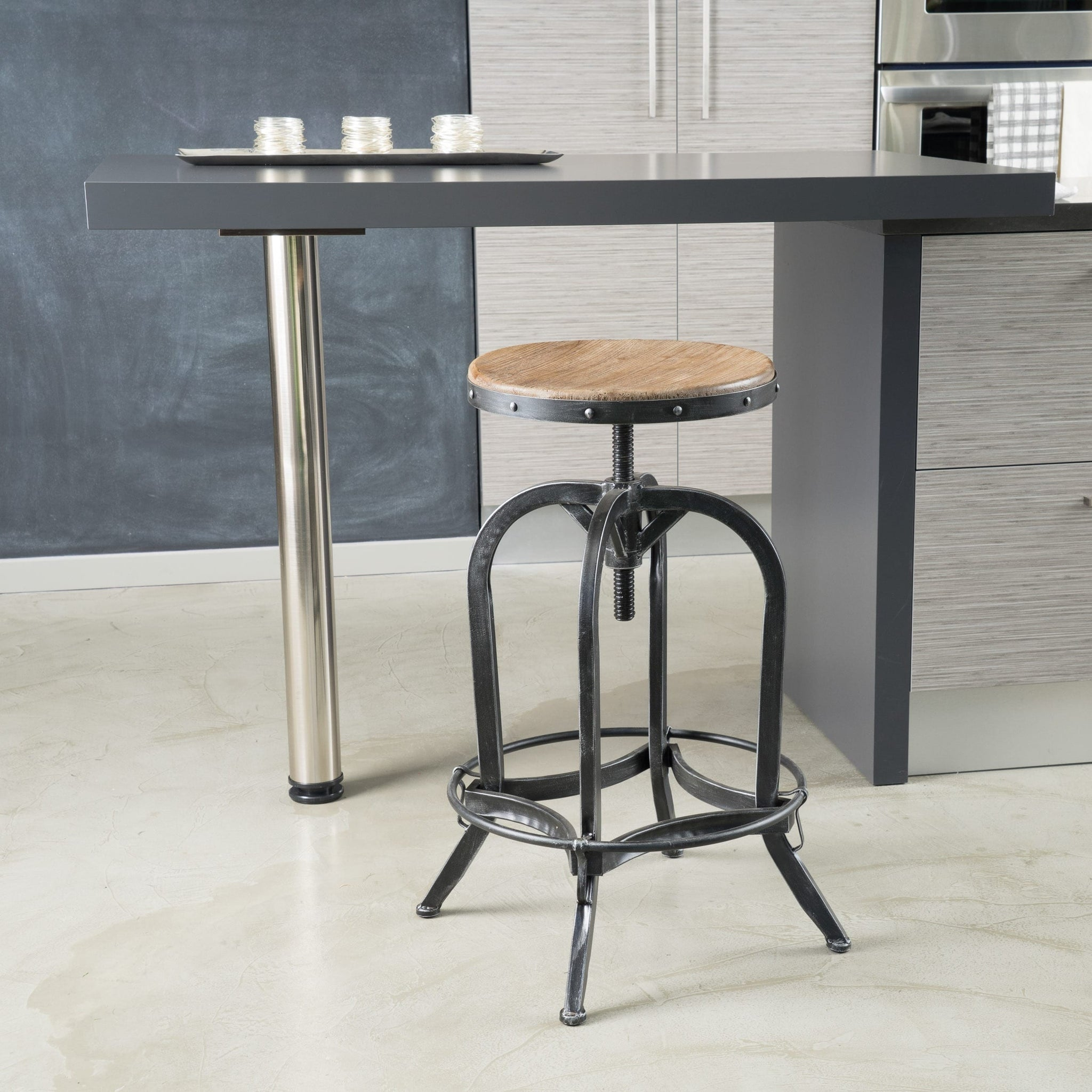 Adjustable 26-inch Natural Fir Wood Finish Bar Stool