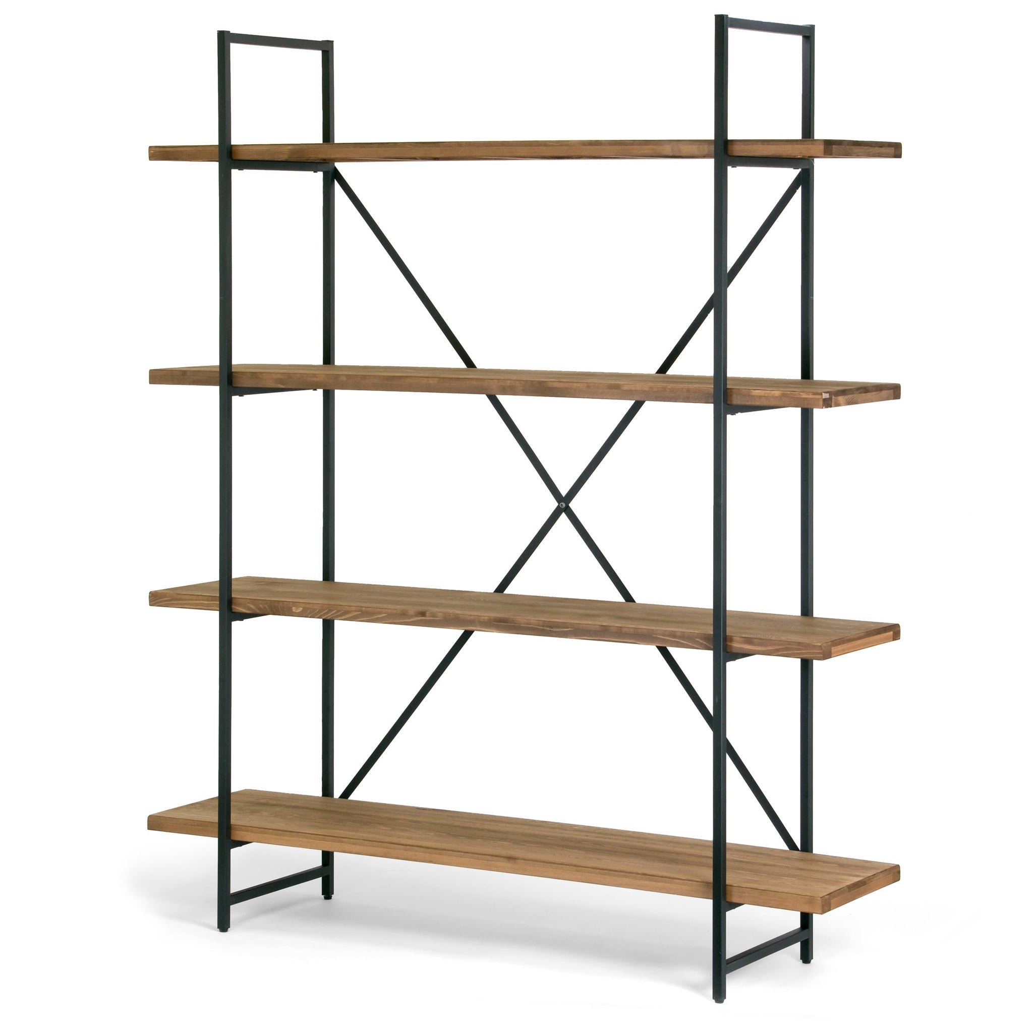 Wood and Metal 75-inch 4-shelf Etagere Bookcase