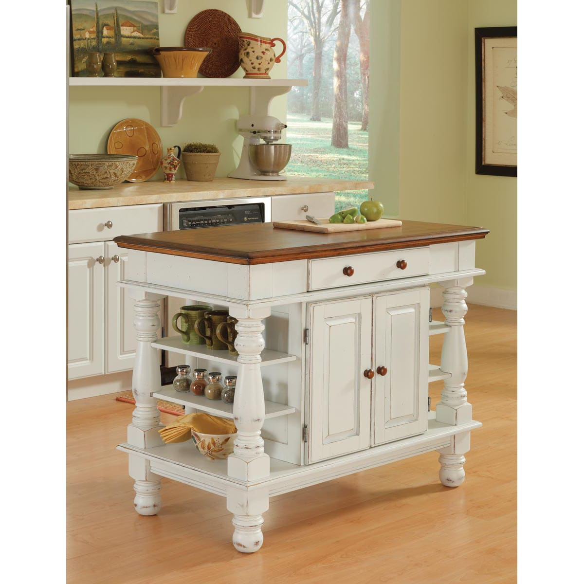 Antiqued White Kitchen Island