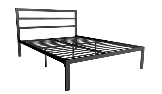 Metal Full Platform Bed with Headboard