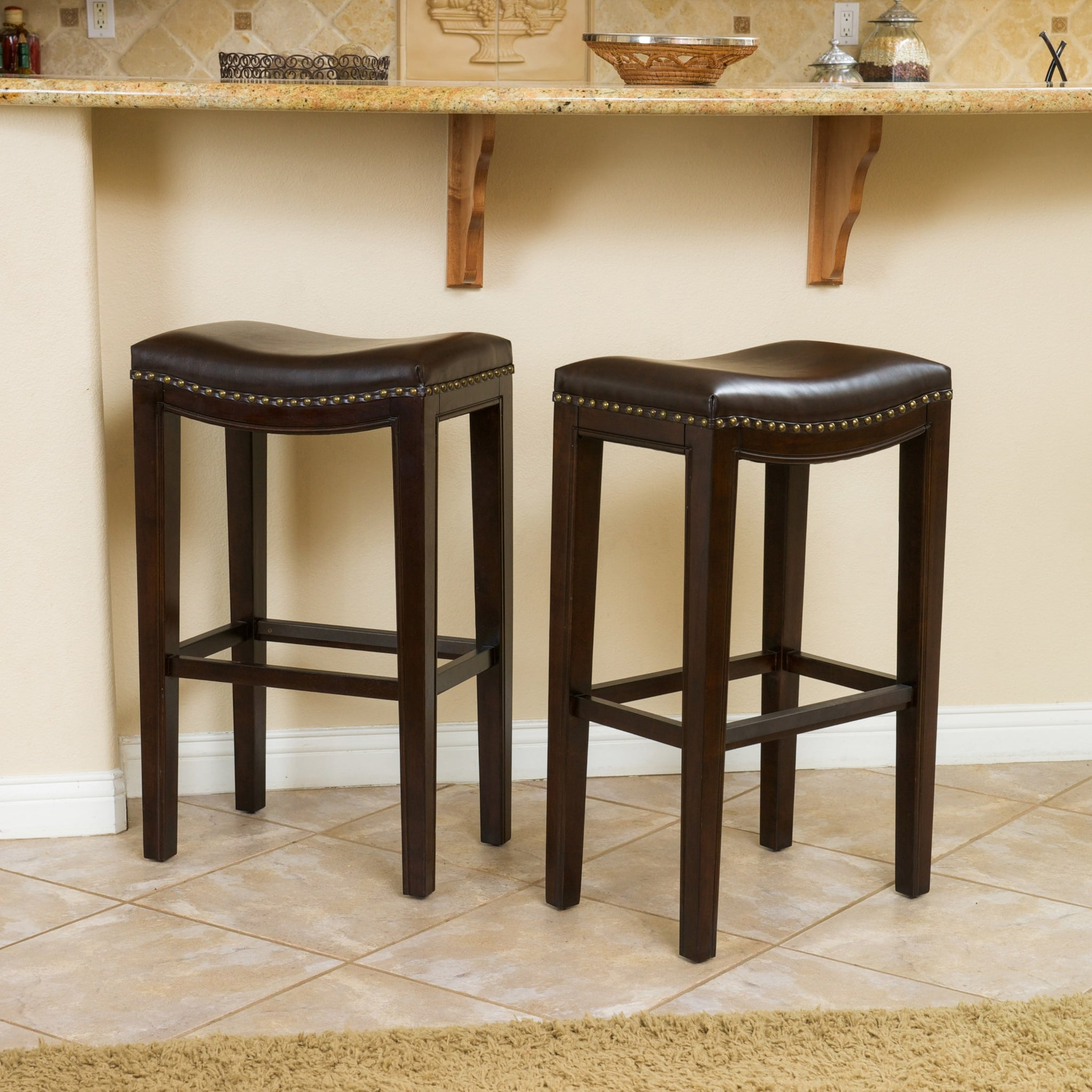 Brown Bonded Leather Backless Bar Stool (Set of 2)