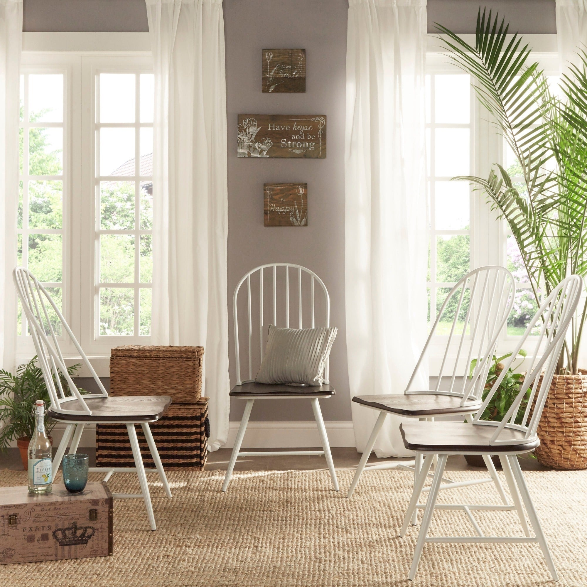 Two Tone Modern Spindle Wood Dining Chairs