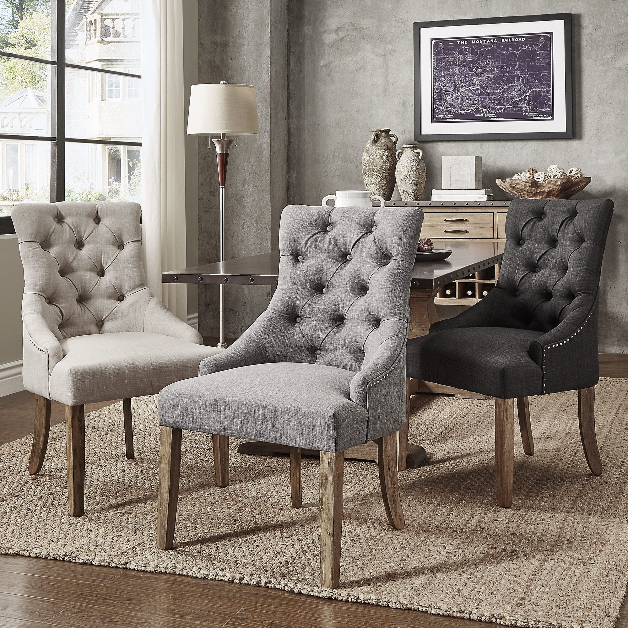 Button Tufts Wingback Hostess Chairs