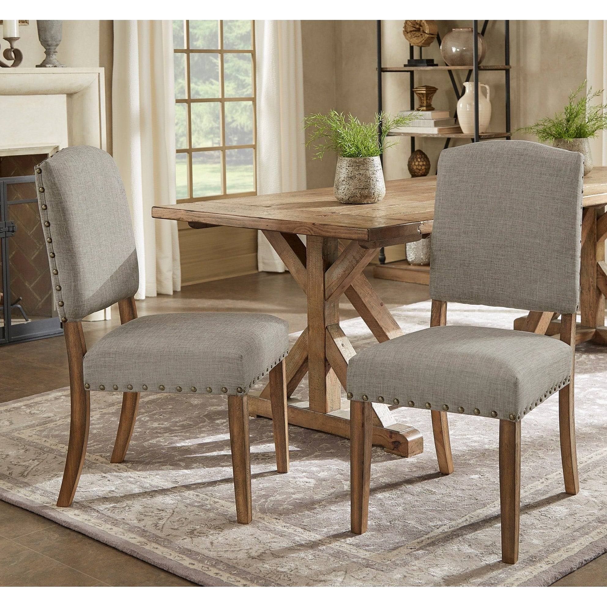 Premium Nailhead Upholstered Dining Chairs