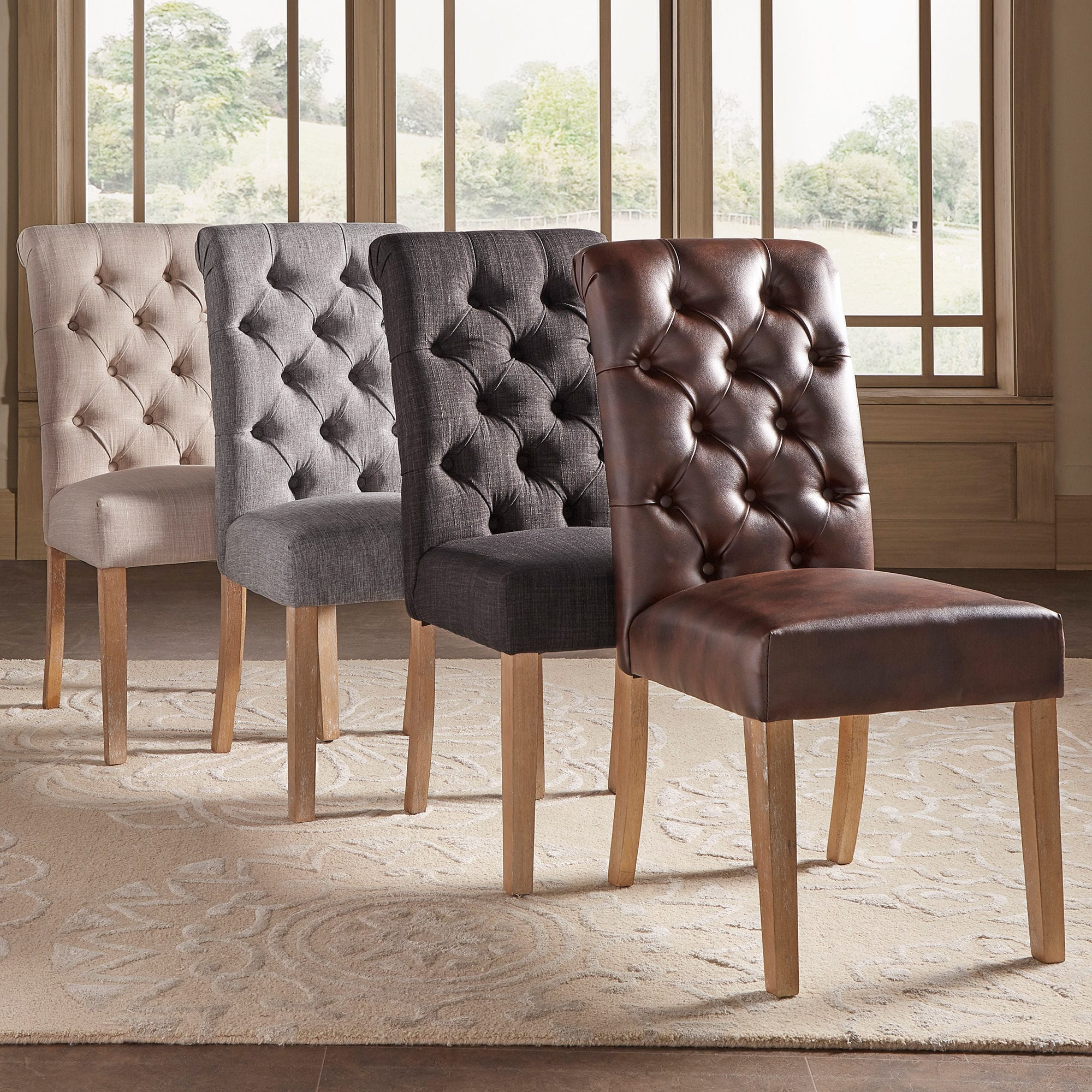 Tufted Rolled-Back Parsons Chairs