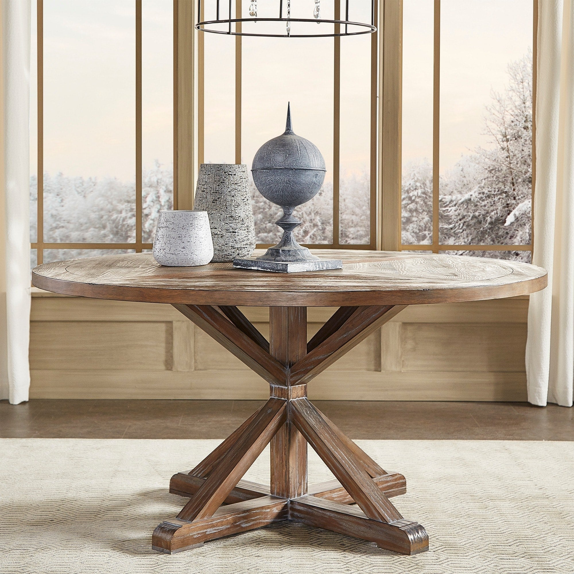 Rustic x base round pine wood dining table
