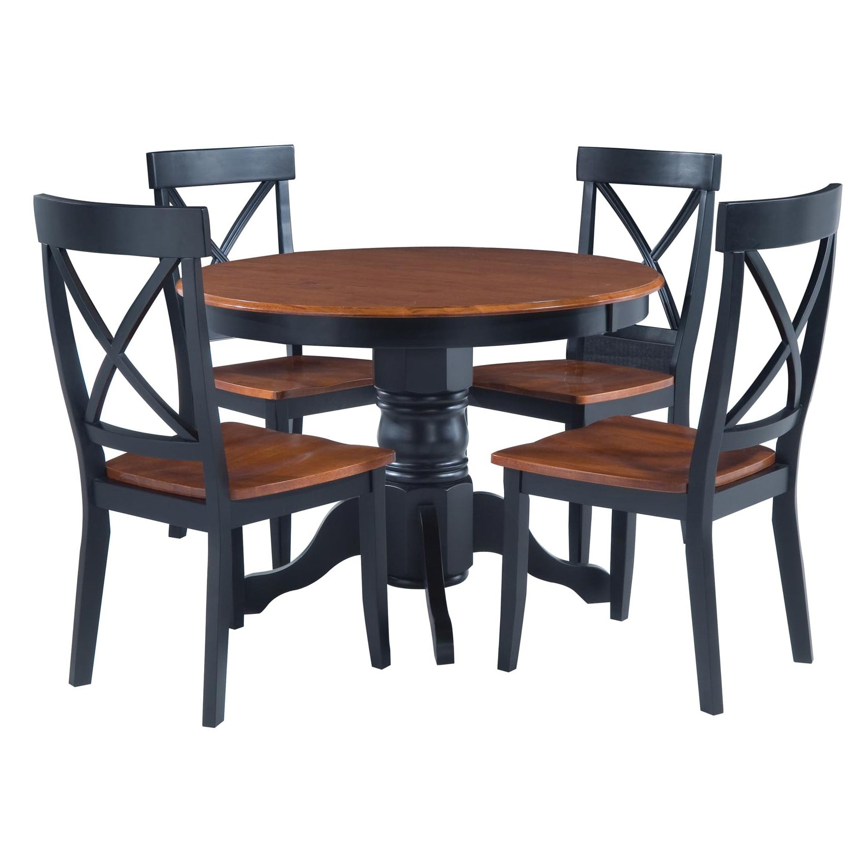 Black and Oak Five-Piece Dining Furniture Set
