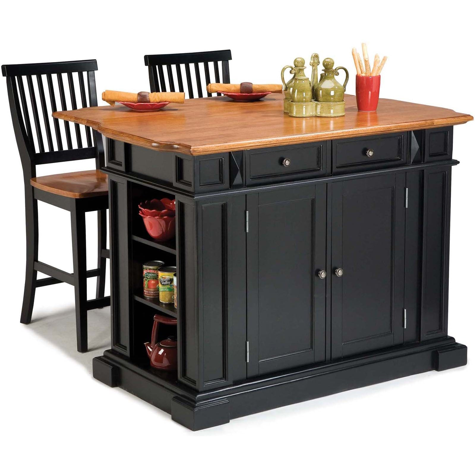 Black Distressed Oak Finish Kitchen Island and Barstools Kitchen Set