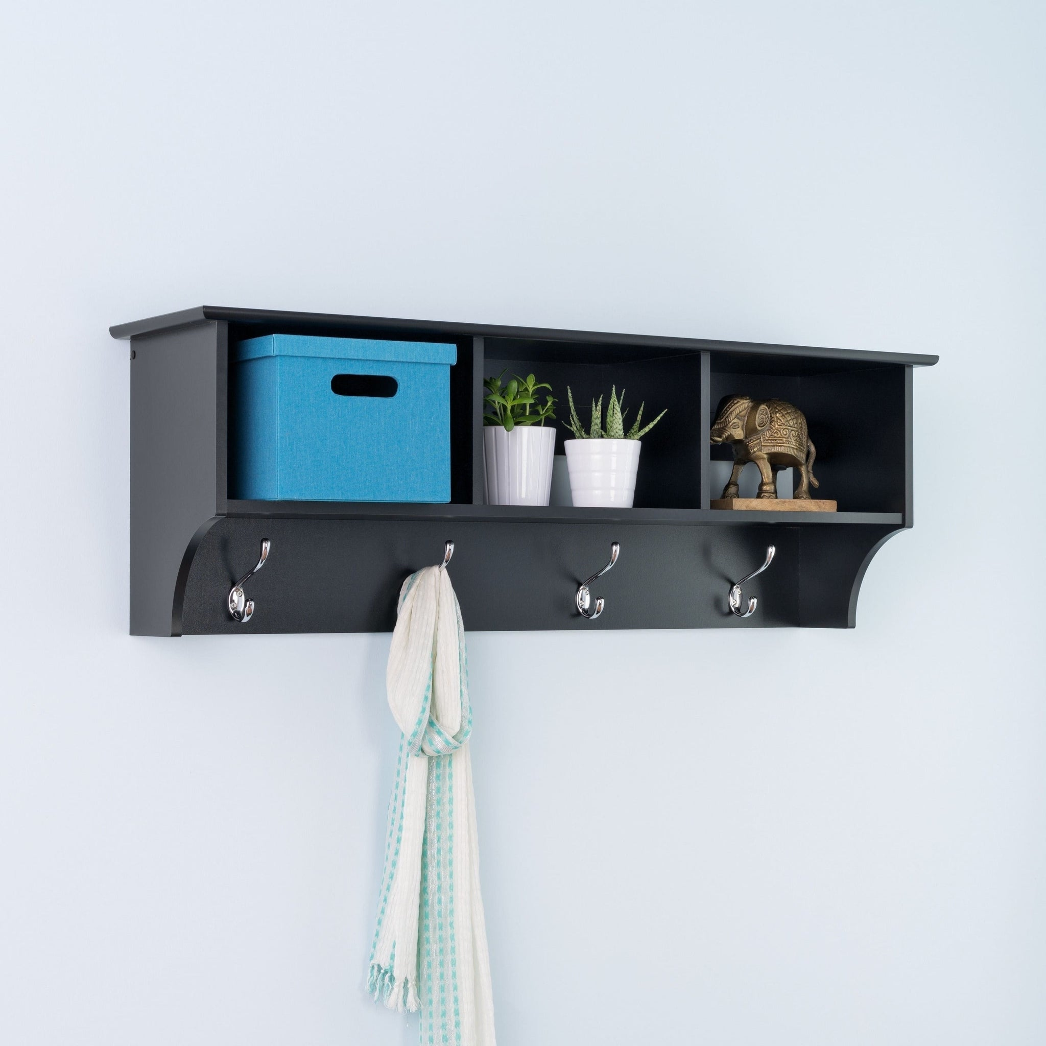Black Entryway Cubby Shelf