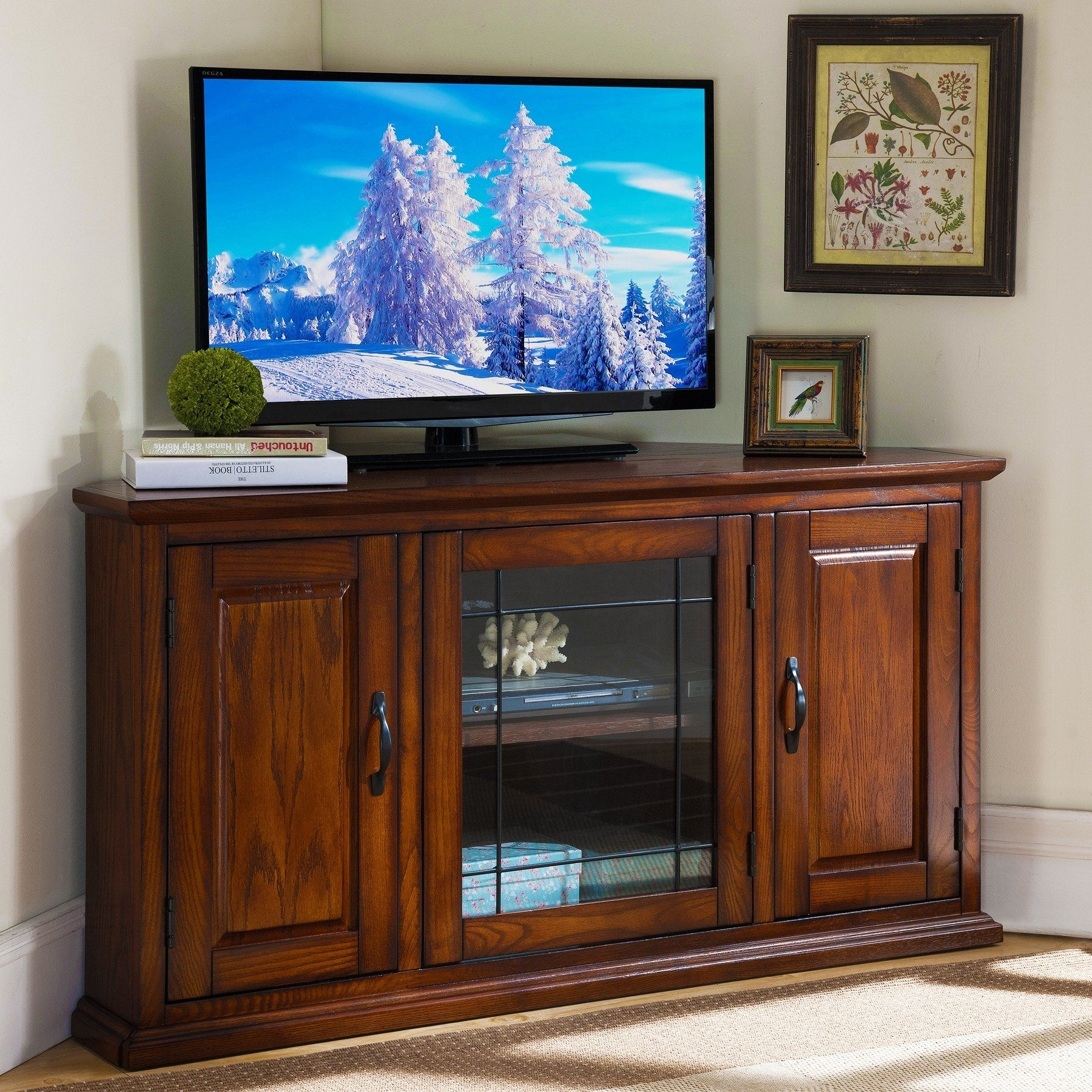 Burnished Oak 50 Inch Tv Stand And Media Corner Console Handy