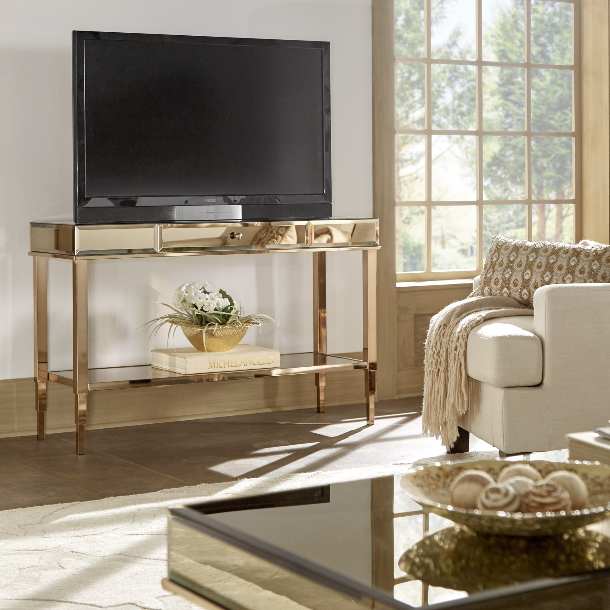 Mirrored TV Stand Console Table with Drawer