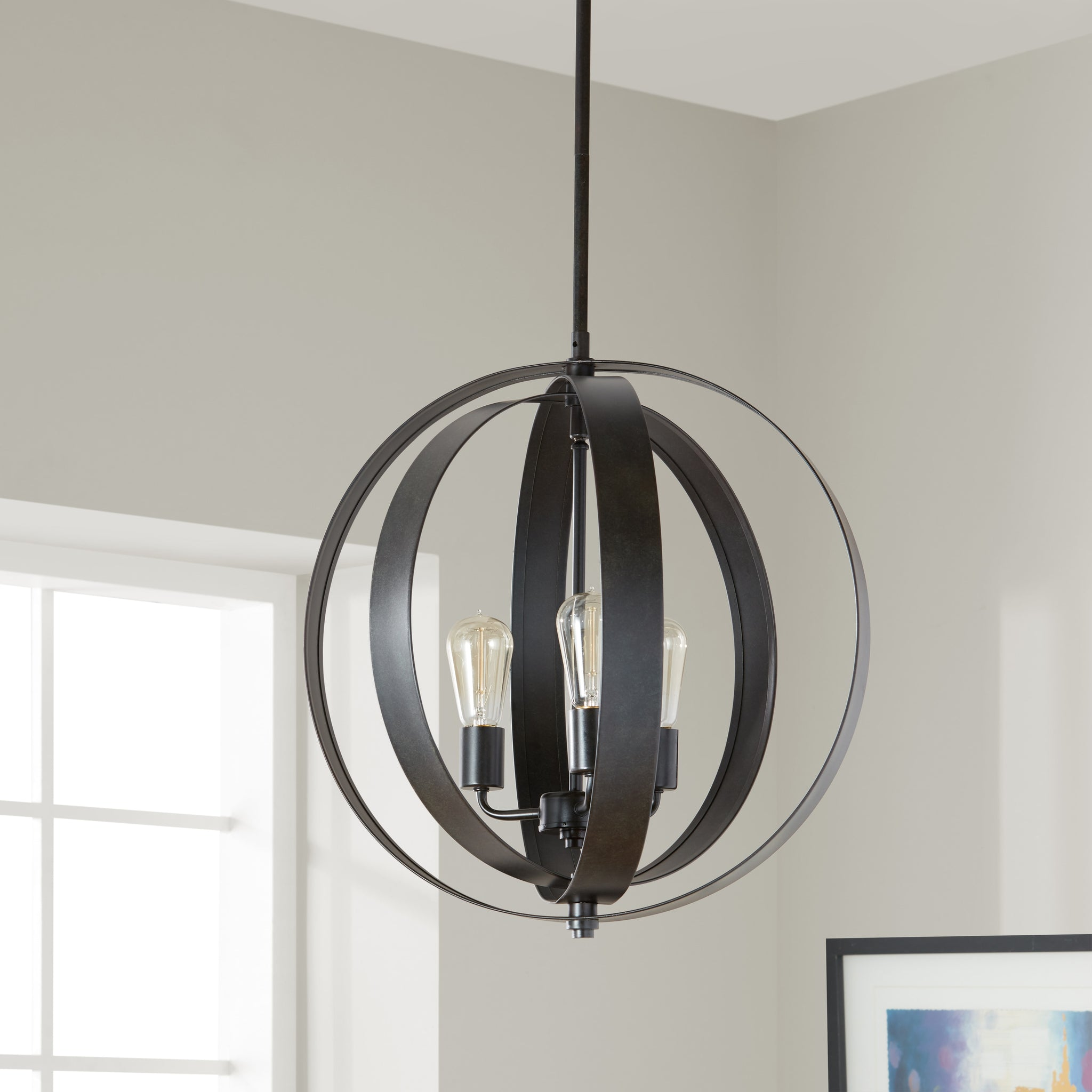 Antiqued Black Three-Light Orb Chandelier