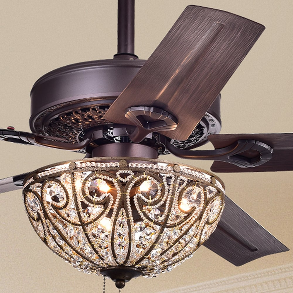 Bronze-Finished Five-Blade, 48-Inch Crystal Ceiling Fan