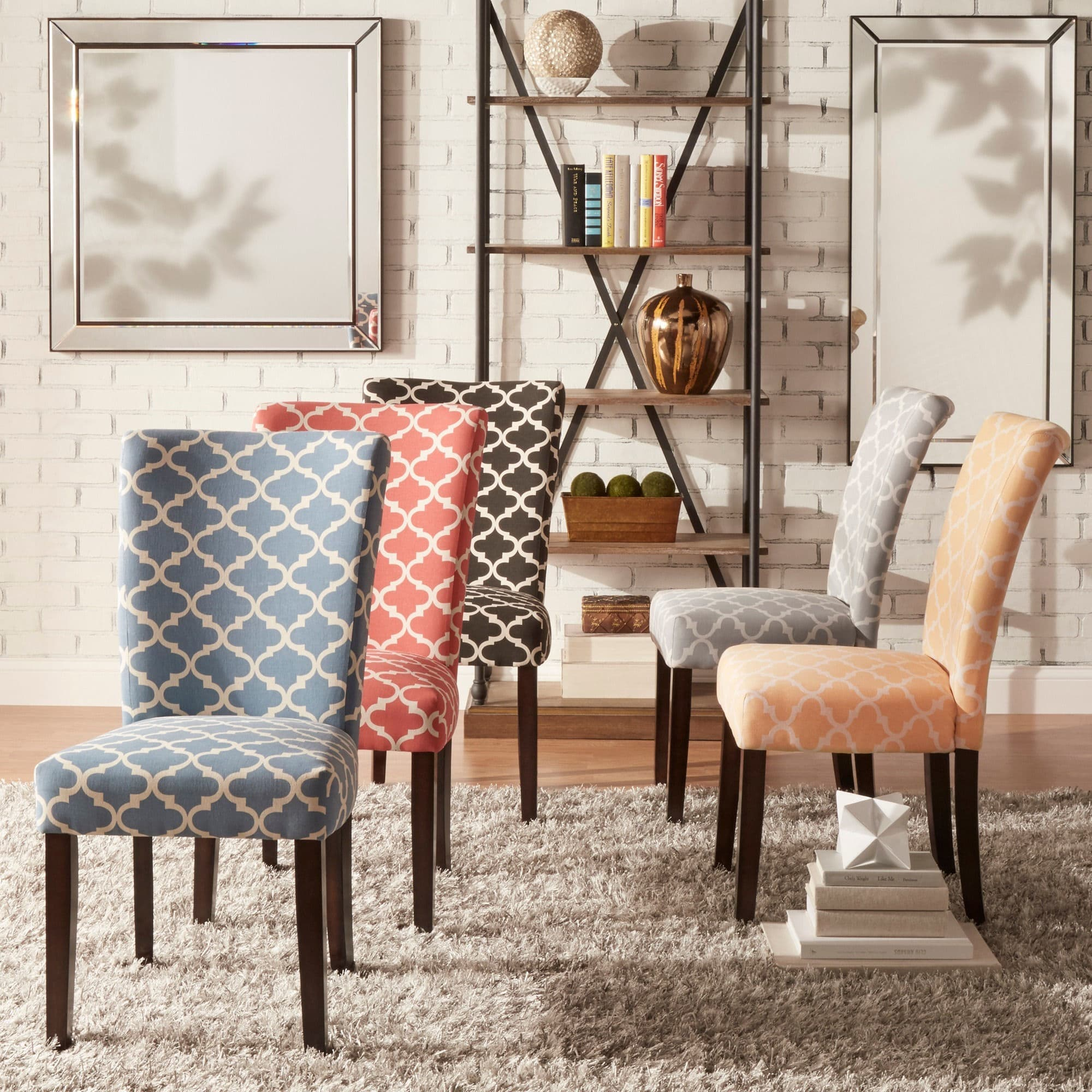 . Moroccan Pattern Fabric Parsons Dining Chair