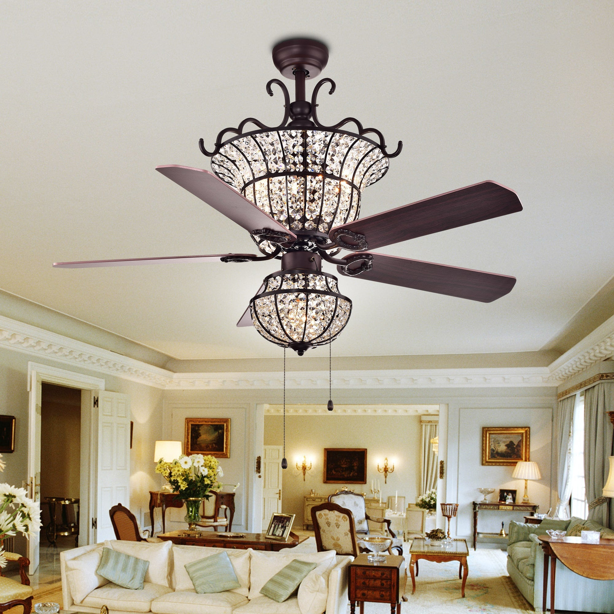 Four-light Crystal Five-Blade 52-Inch Chandelier Ceiling Fan