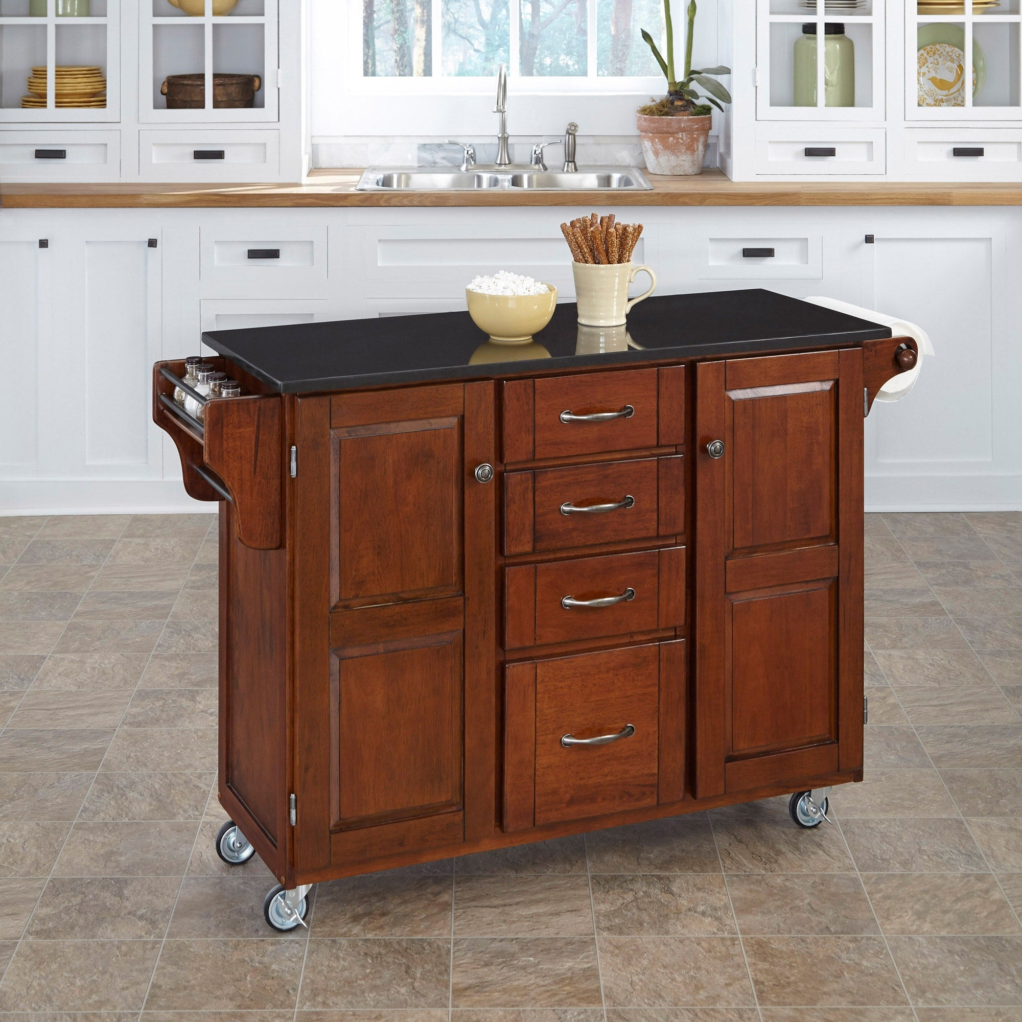 Cherry Finish Black Granite Top Kitchen Cart