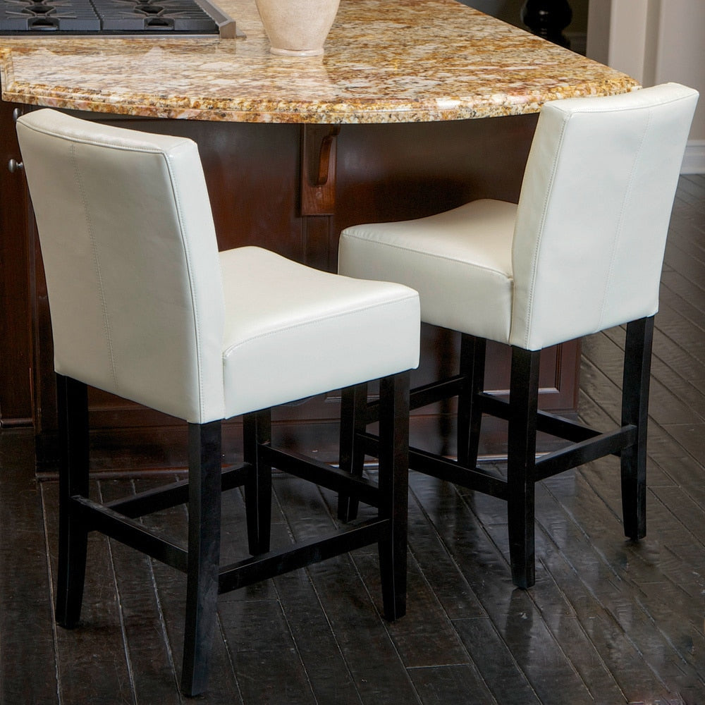 26-inch Ivory Leather Counterstools (Set of 2)