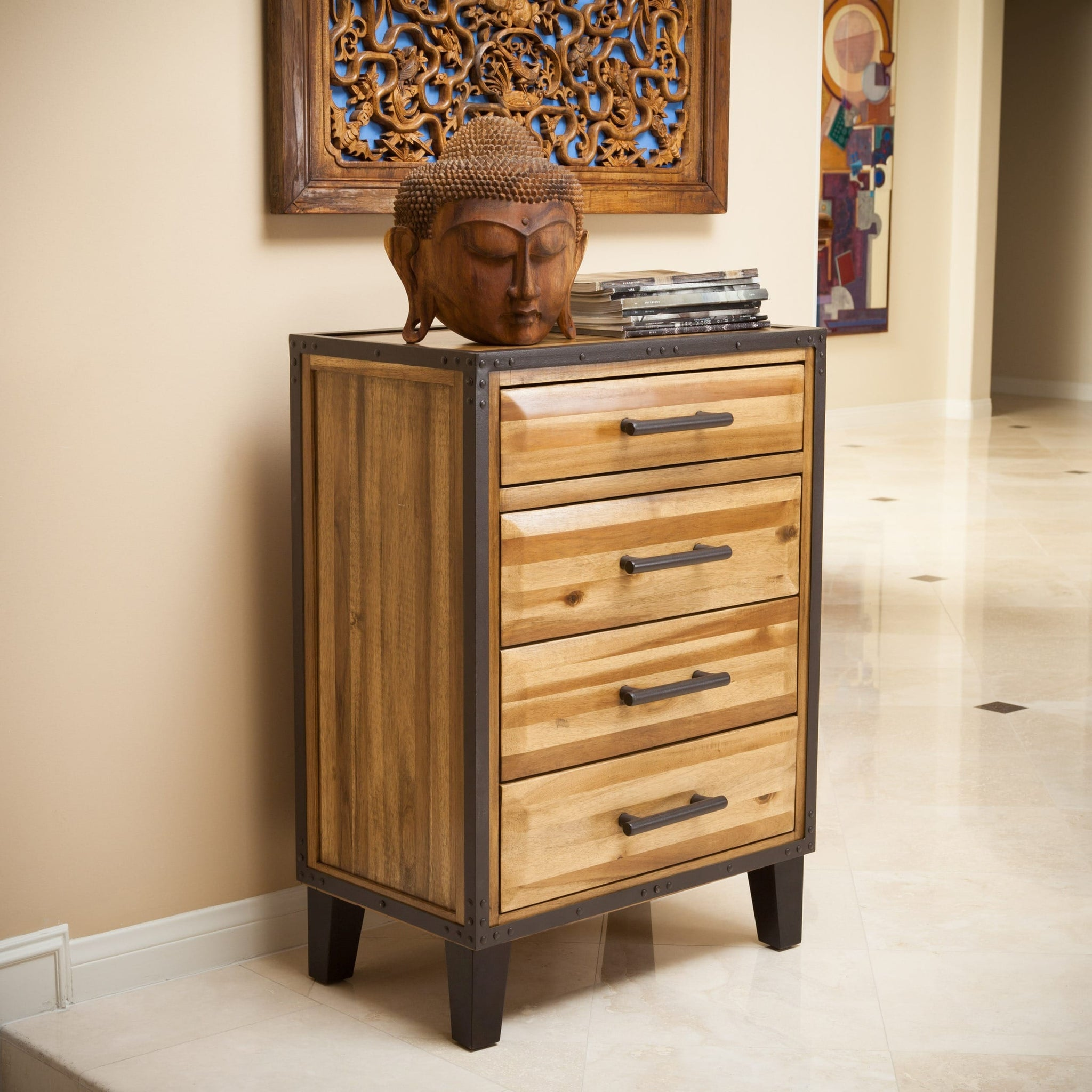 Acacia Wood Four-drawer Chest