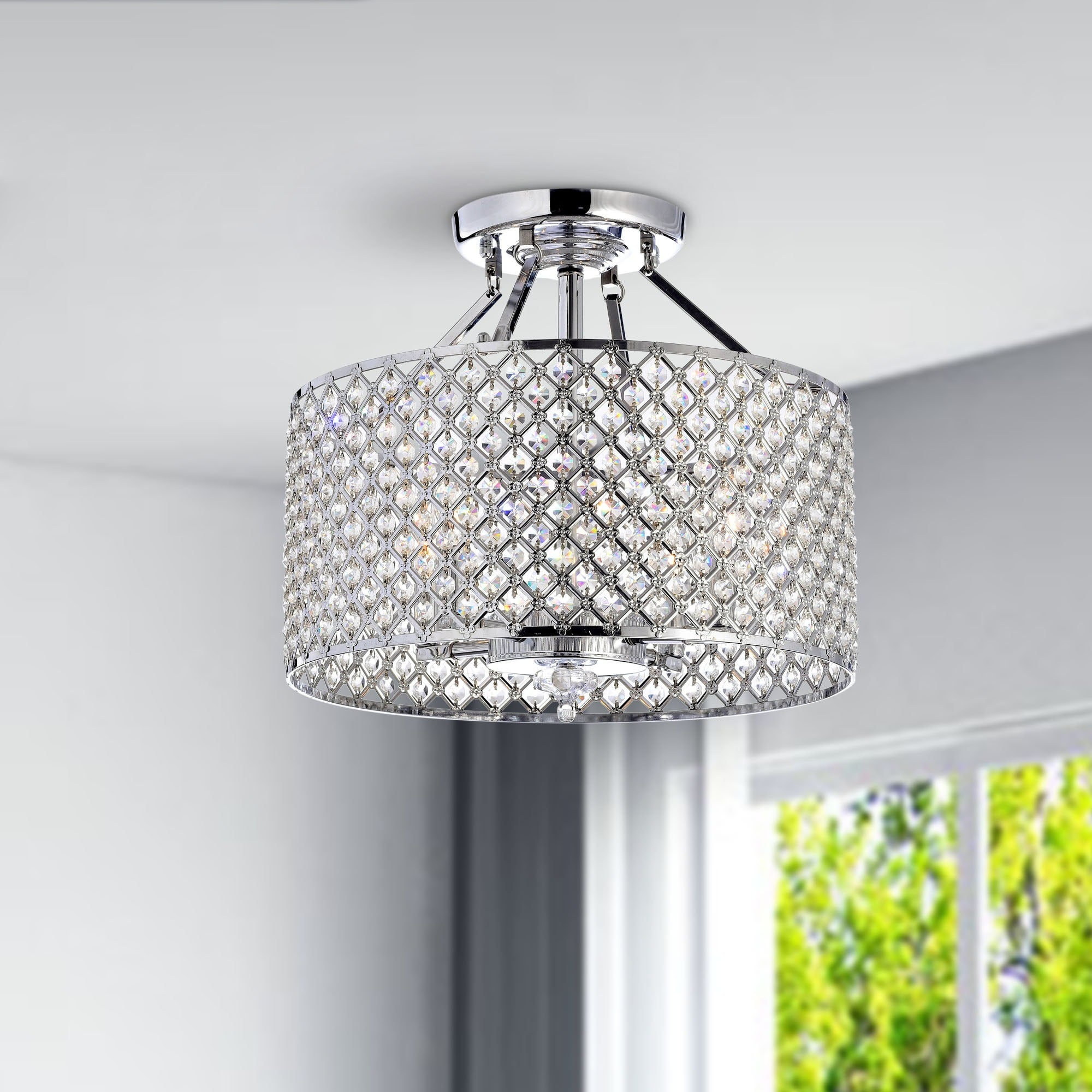 Chrome/ Crystal Four-Light Round Ceiling Chandelier