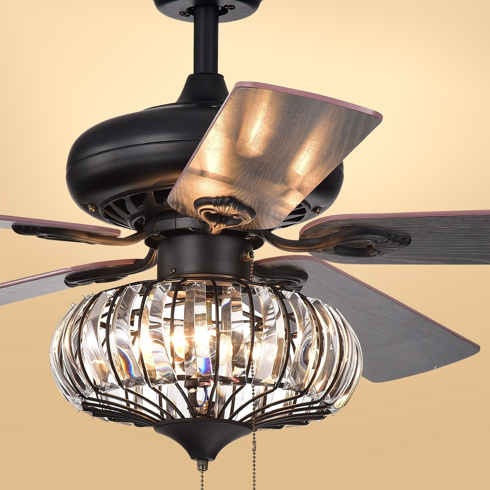 Three-Light Crystal Five-Blade 52-Inch Brown Ceiling Fan