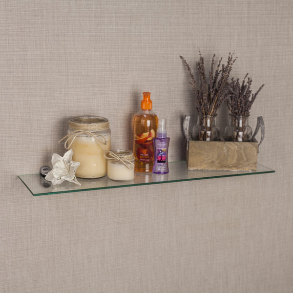 Glass Floating Shelves Best Clear Glass Floating Shelf With Chrome Brackets Handy