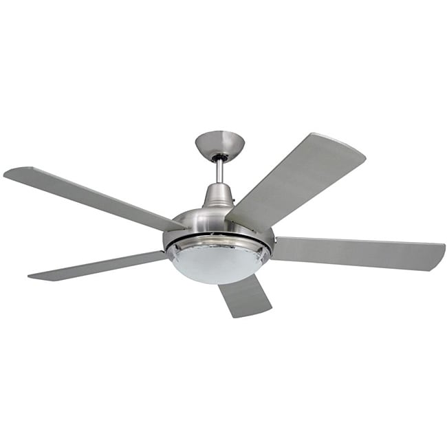 Contemporary 52-Inch Nickel Two-Light Ceiling Fan