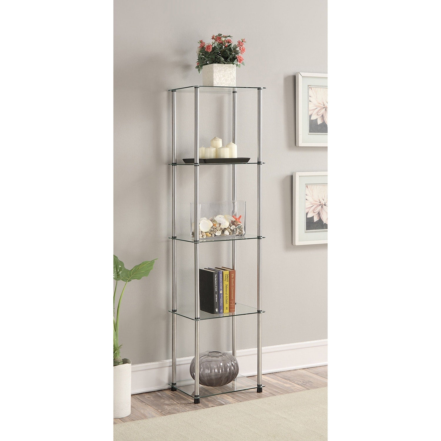 Clear Glass and Stainless Steel Contemporary 5-tier Display Tower