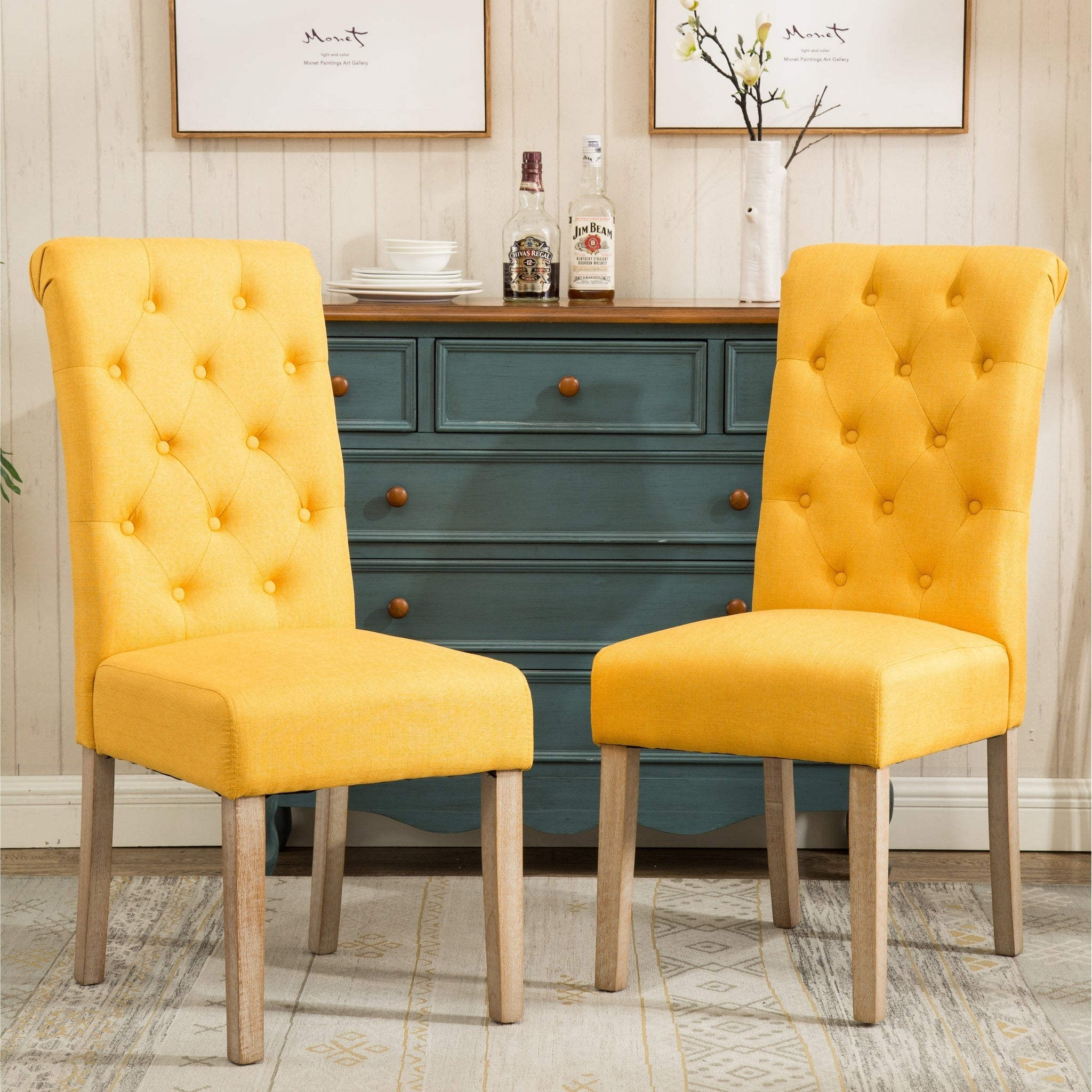 Solid Wood Tufted Parsons Dining Chairs
