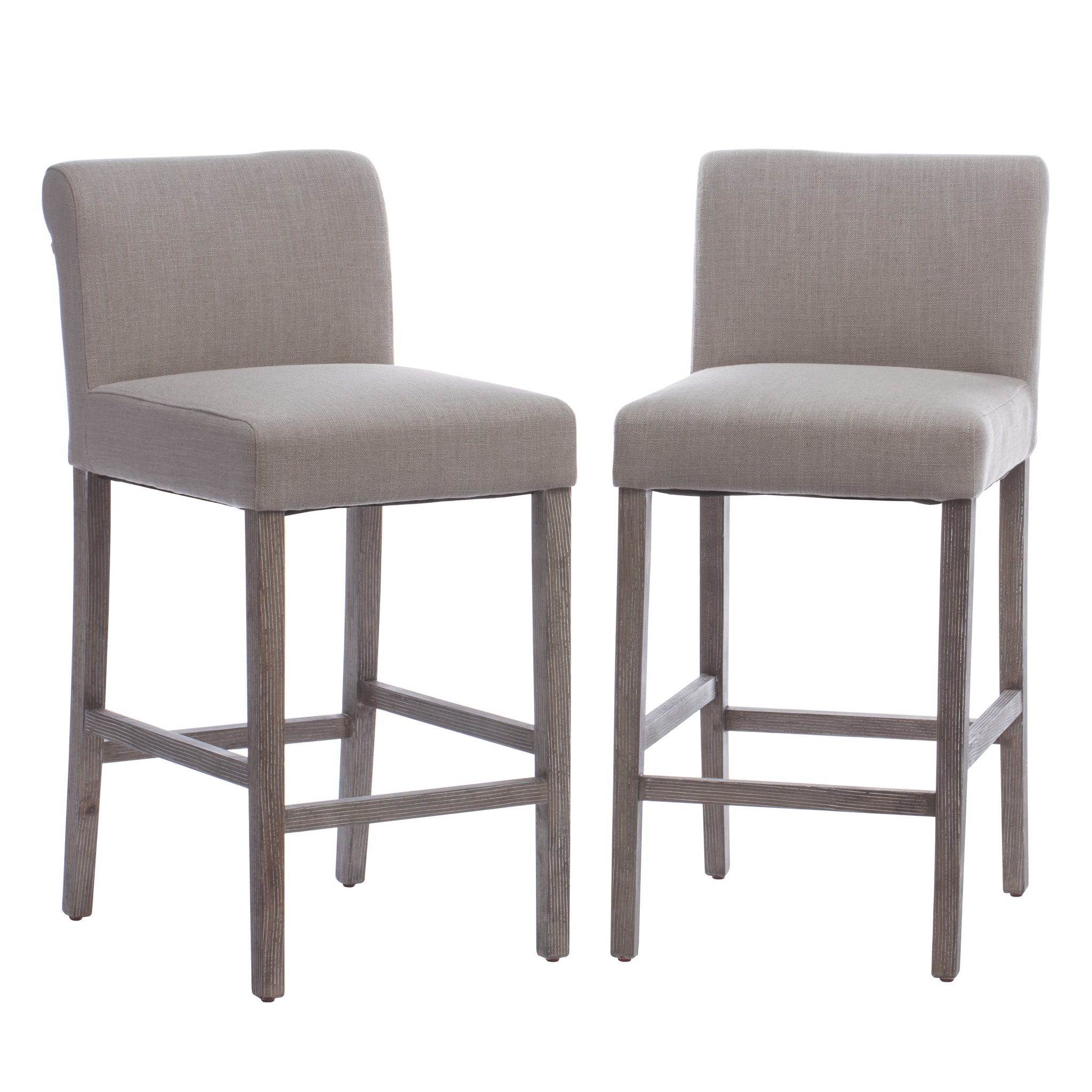 Fantastic Beige Linen Counter Stools Set Of 2 Ncnpc Chair Design For Home Ncnpcorg
