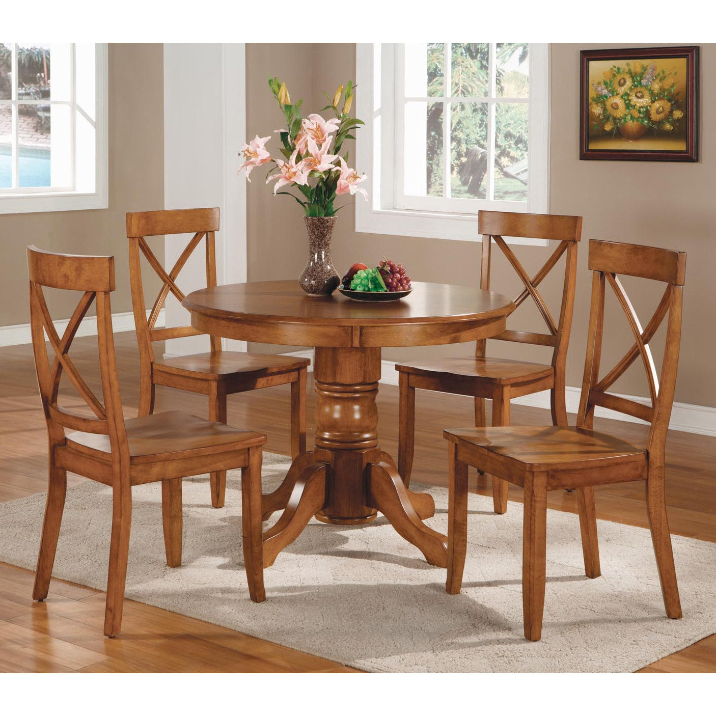 Cottage Oak Five-Piece Dining Furniture Set