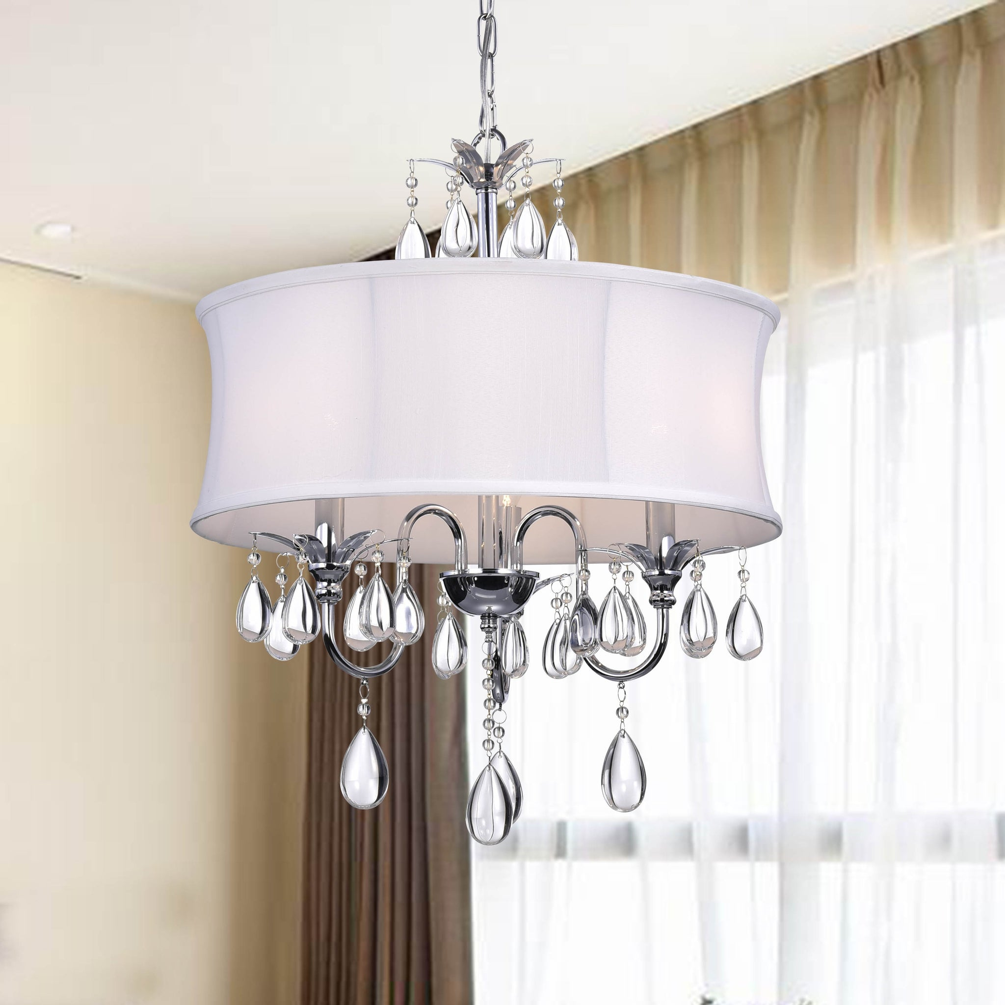 Crystal Chrome Three-Light Chandelier