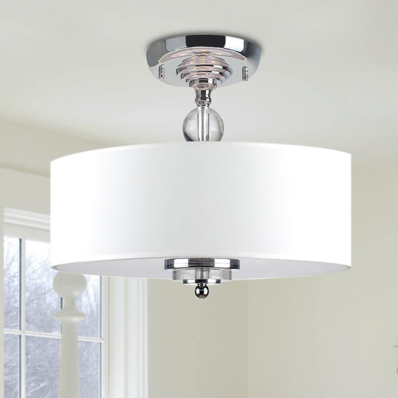 Crystal Decorated Off-White Shade Flushmount Ceiling Chandelier