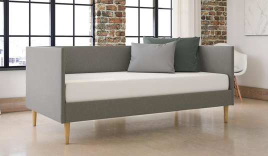 Grey Linen Mid-century Daybed