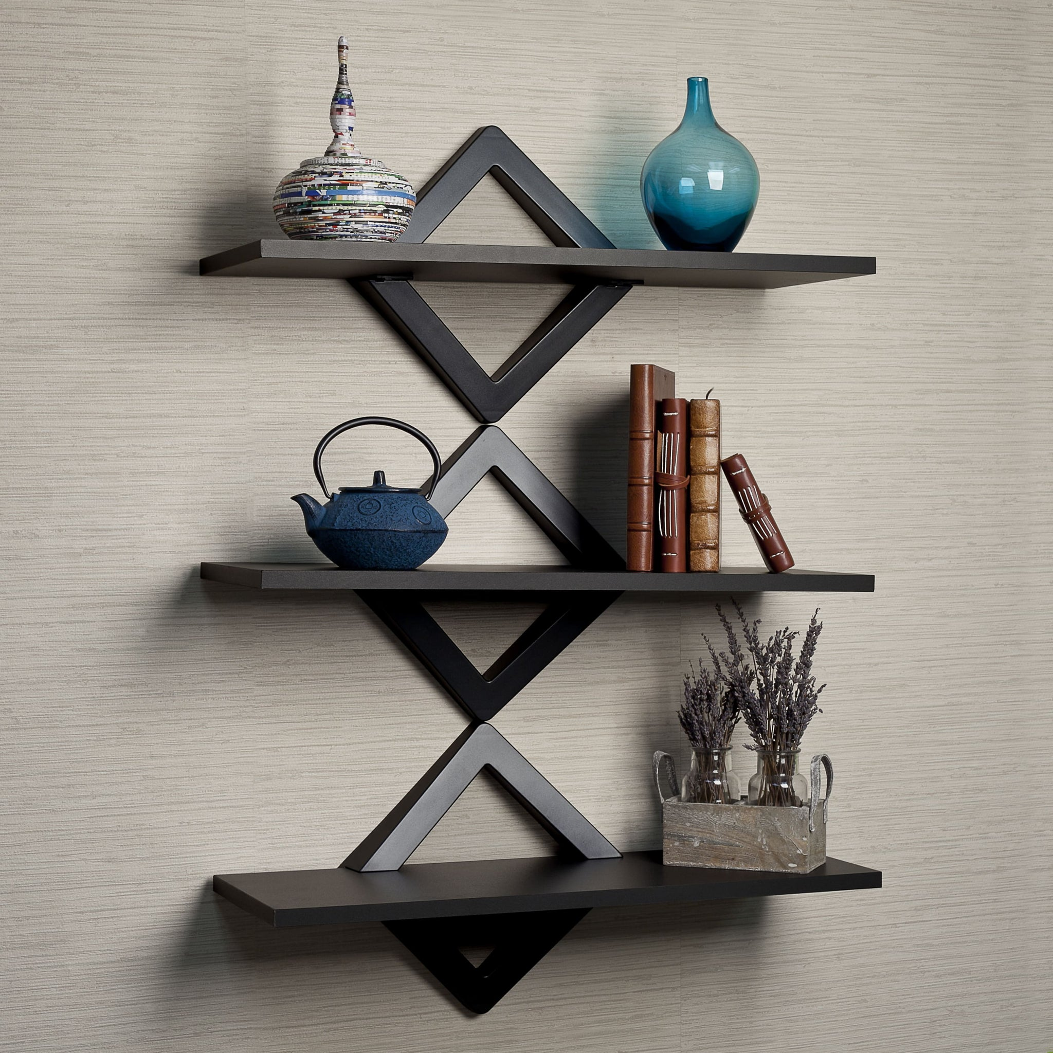 Diamonds 3-Level Black Shelving System