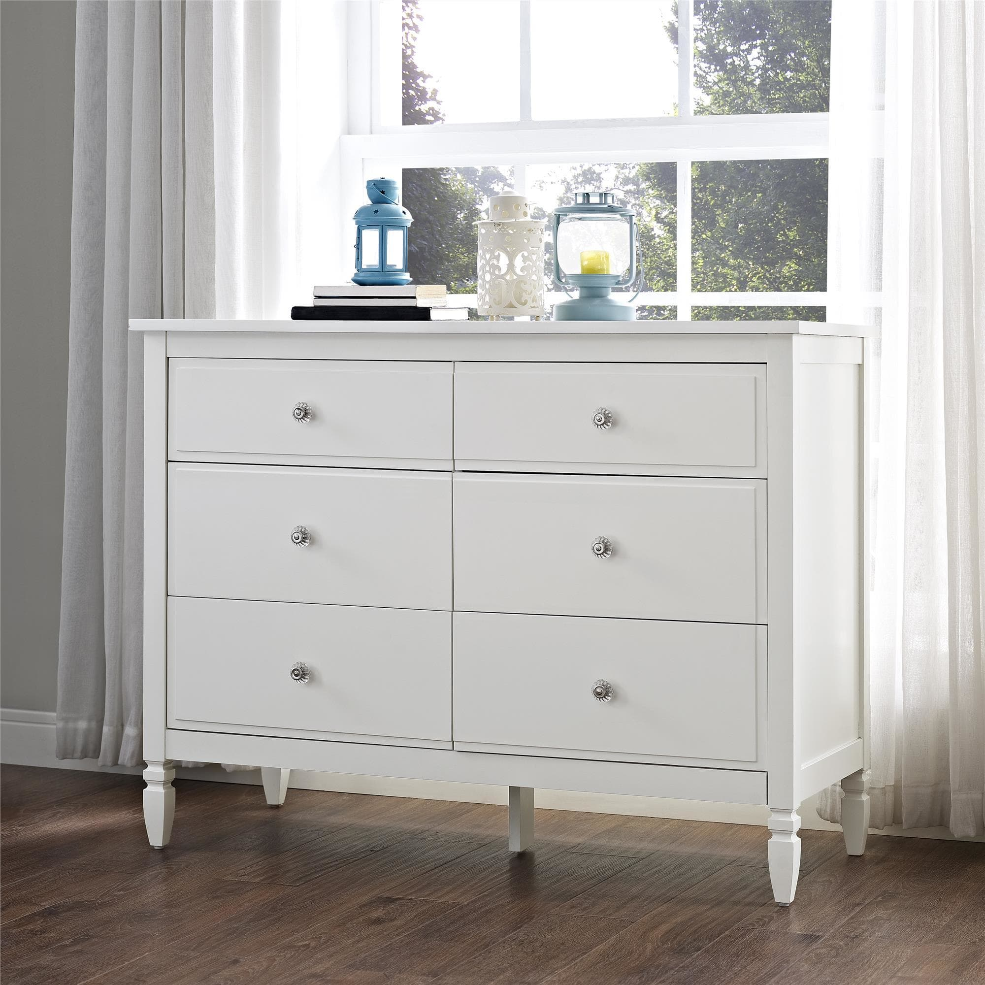 White Six-Drawer Dresser