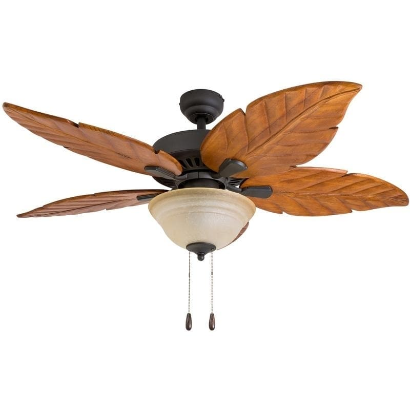 52-Inch Tropical Bronze Ceiling Fan with Hand-Carved Wooden Blades and Remote Control