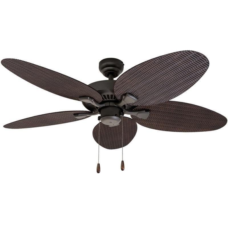 EcoSure Siesta Key 52-Inch Tropical Bronze Indoor/ Outdoor Ceiling Fan with Wicker Blades and Remote Control