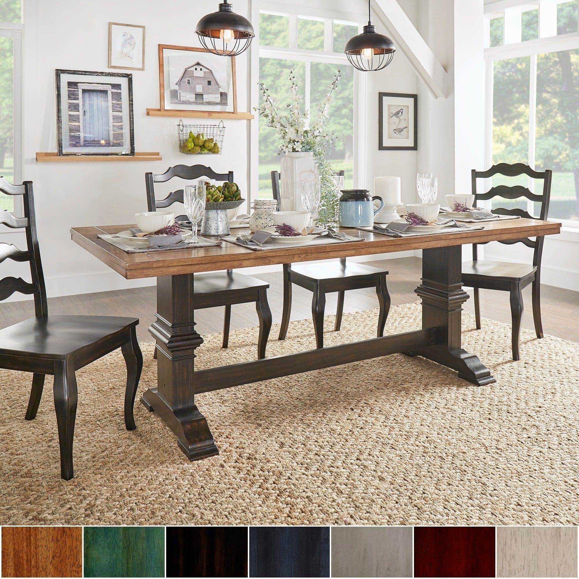 Two-tone Rectangular Solid Wood Top Dining Table